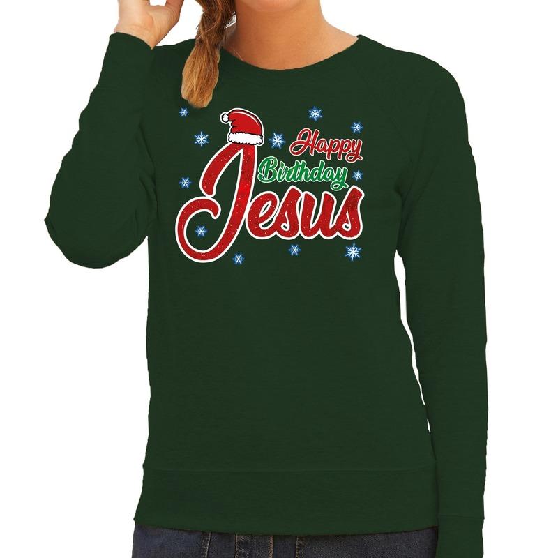 Foute Kersttrui Happy Birthday Jesus groen voor dames