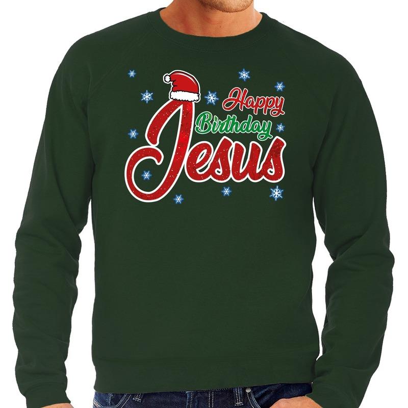 Foute Kersttrui Happy Birthday Jesus groen voor heren