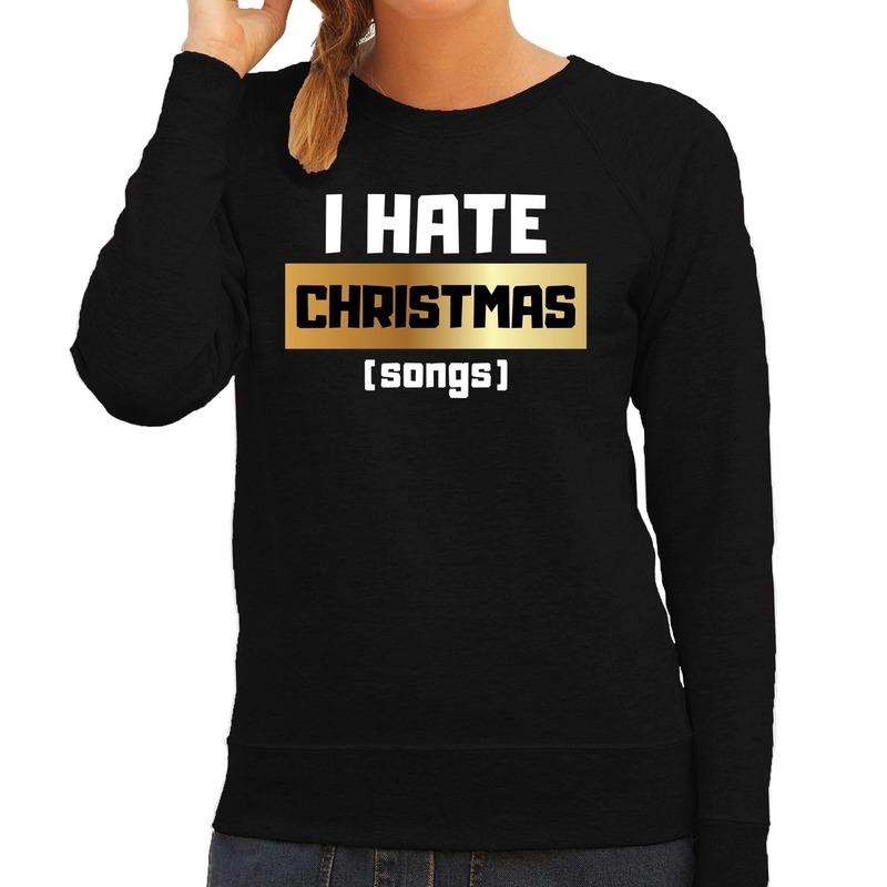 Foute Kersttrui I hate Christmas songs zwart voor dames