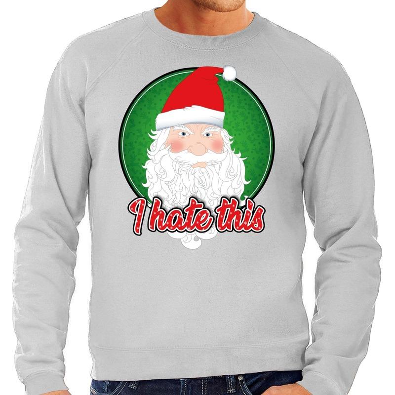 Foute Kersttrui I hate this grijs voor heren
