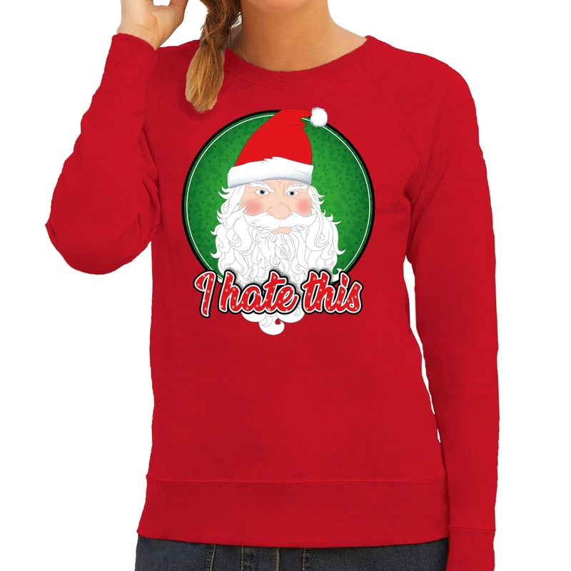 Foute Kersttrui I hate this rood voor dames