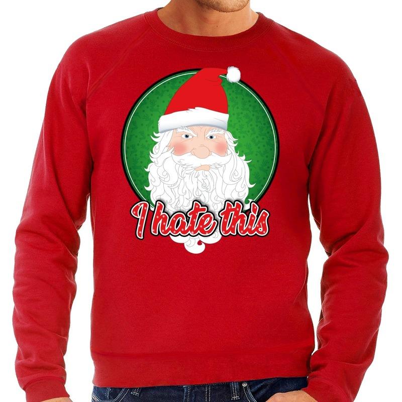 Foute Kersttrui I hate this rood voor heren