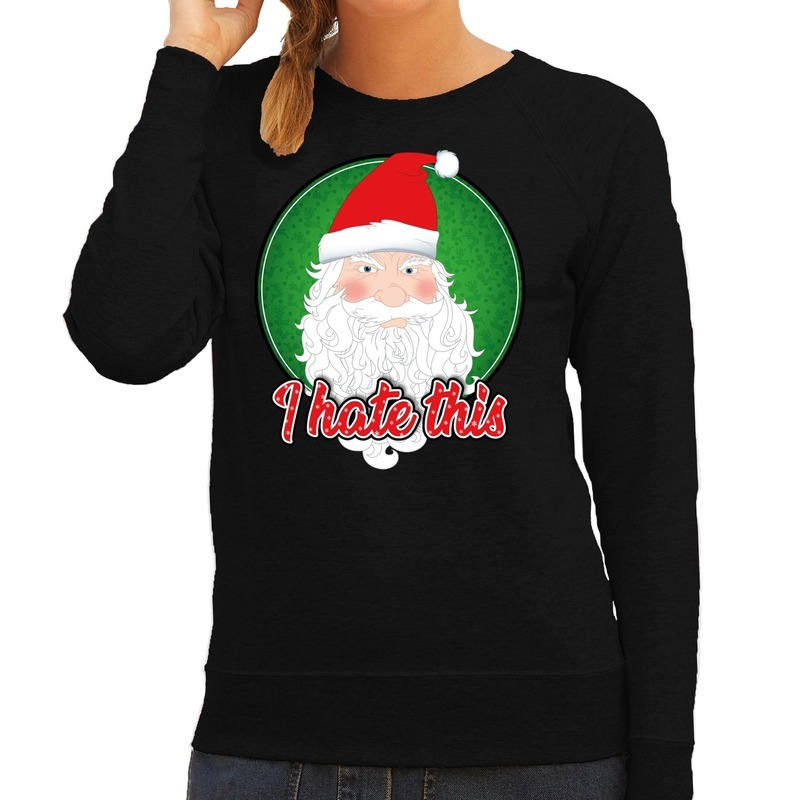 Foute Kersttrui I hate this zwart voor dames
