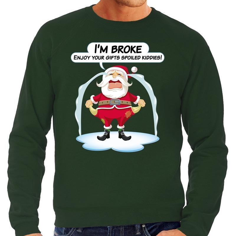 Foute Kersttrui Im broke enjoy your gifts groen voor heren