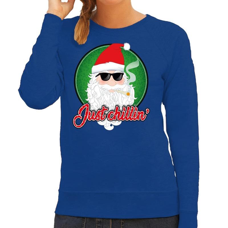 Foute Kersttrui just chillin blauw voor dames