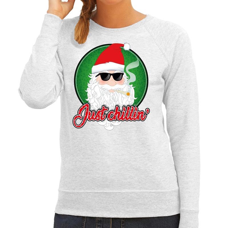 Foute Kersttrui just chillin grijs voor dames