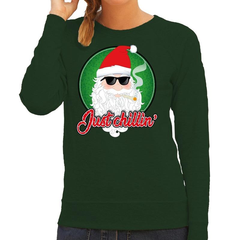 Foute Kersttrui just chillin groen voor dames