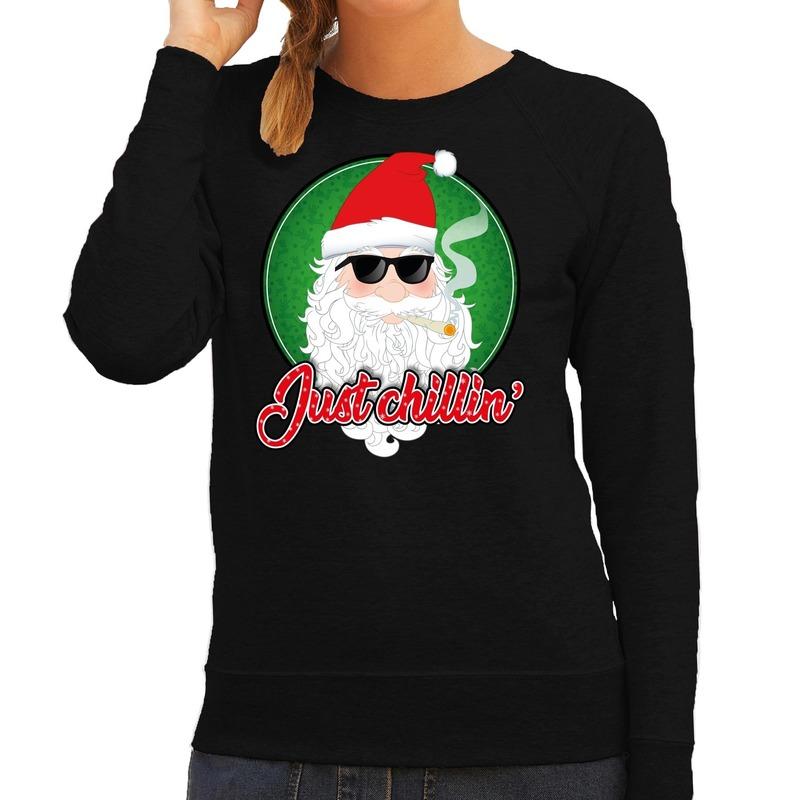 Foute Kersttrui just chillin zwart voor dames