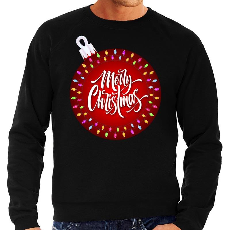 Foute Kersttrui kerstbal merry christmas zwart voor heren