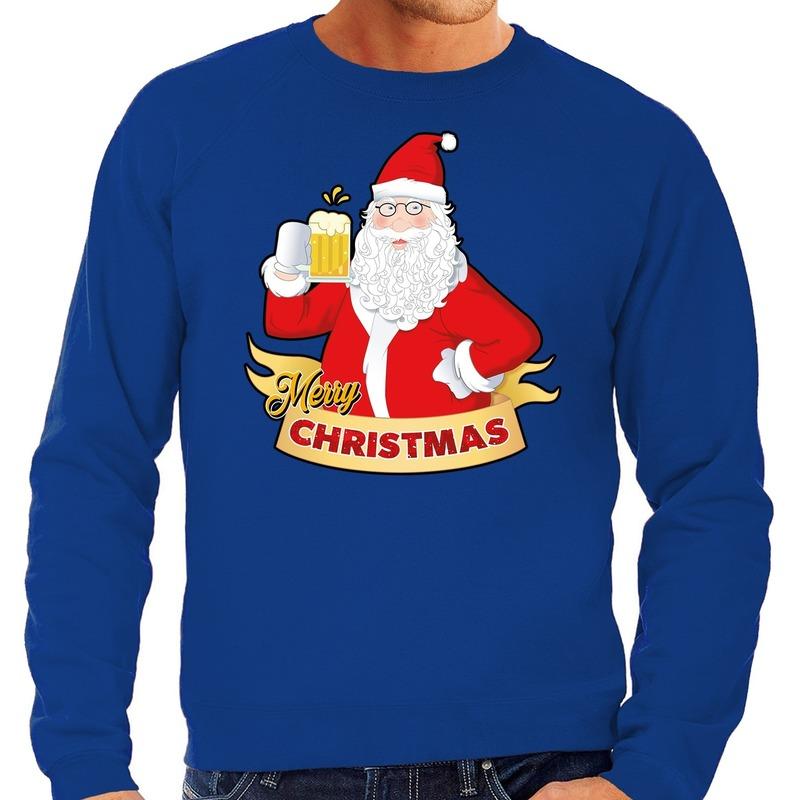 Foute Kersttrui kerstman met een peul bier blauw voor heren