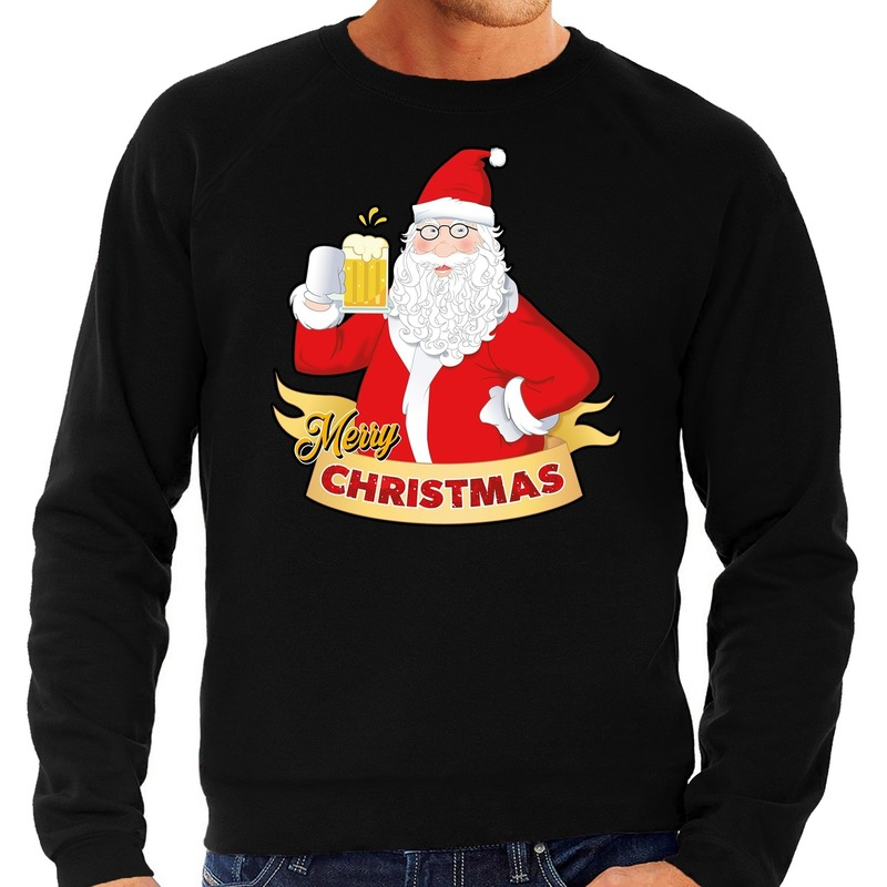 Foute Kersttrui kerstman met een peul bier zwart voor heren