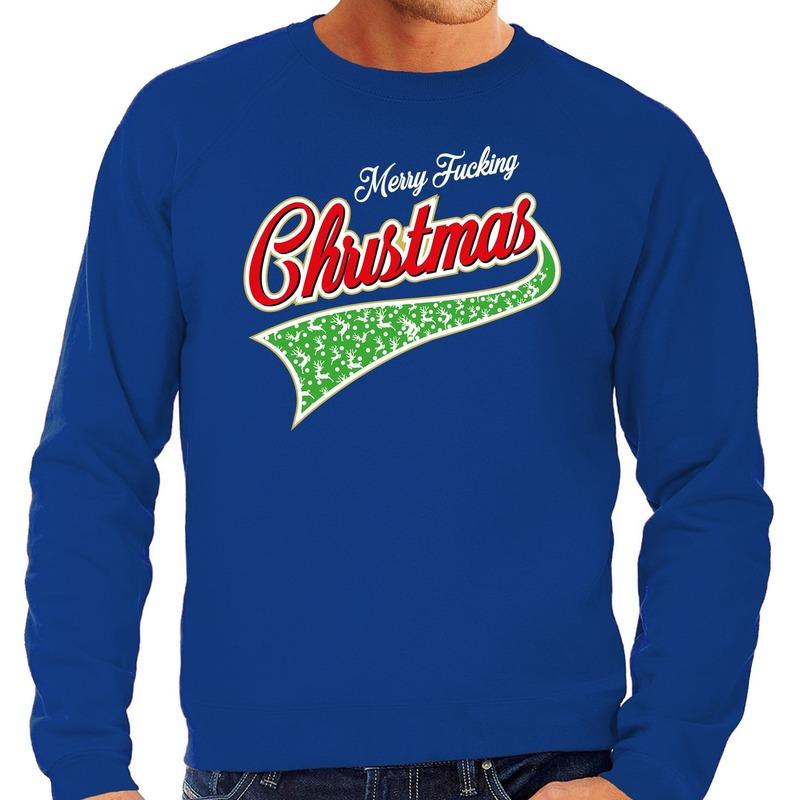 Foute Kersttrui Merry fucking christmas blauw voor heren