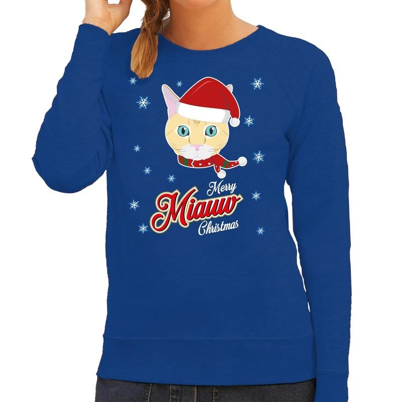 Foute Kersttrui Merry Miauw Christmas Kerst kat blauw voor dames