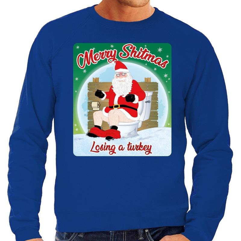 Foute kersttrui merry shitmas blauw voor heren