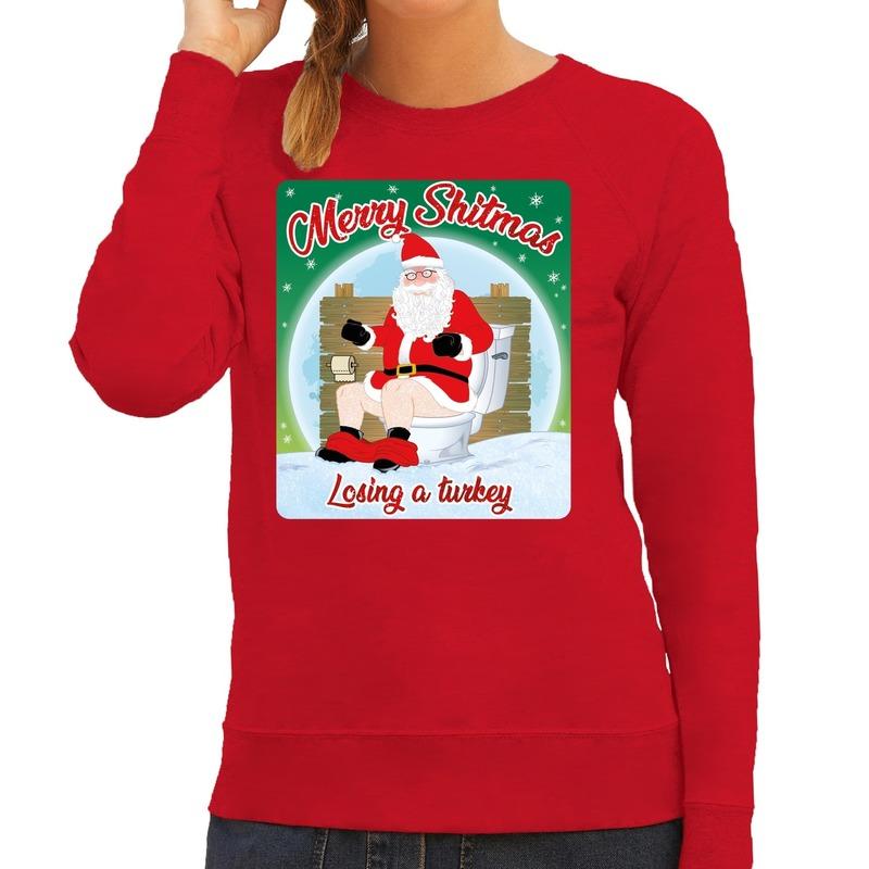 Foute kersttrui merry shitmas rood voor dames