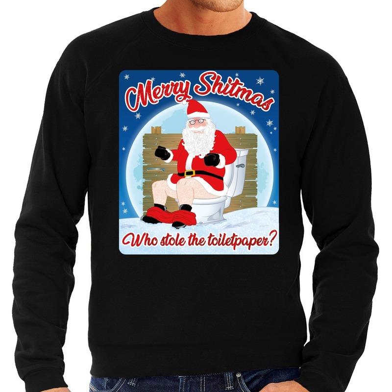 Foute kersttrui merry shitmas zwart voor heren