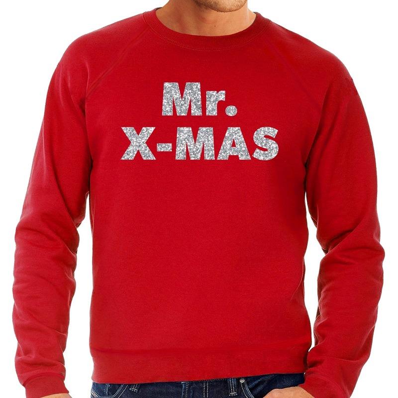 Foute Kersttrui Mr. x-mas zilveren glitter letters rood heren