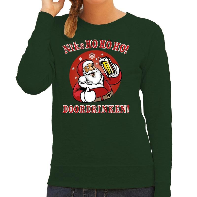 Foute Kersttrui Niks ho ho ho doordrinken bier groen voor dames