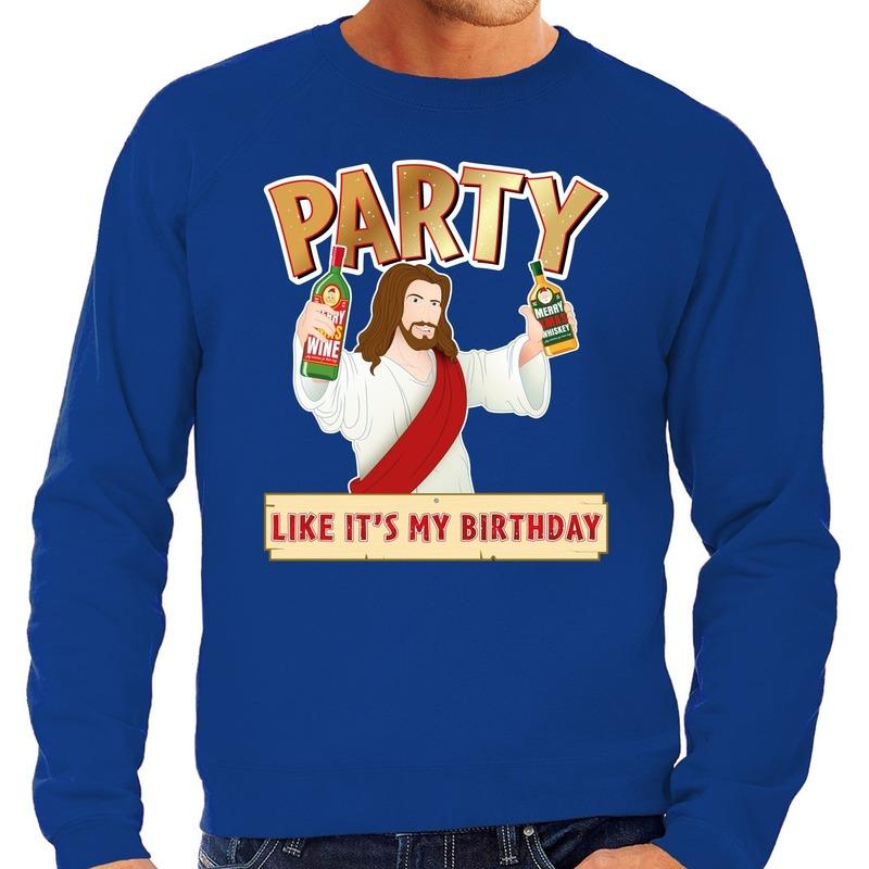 Foute Kersttrui Party Jezus blauw voor heren