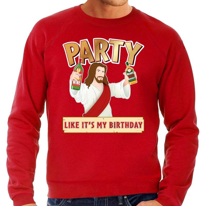Foute Kersttrui Party Jezus rood voor heren