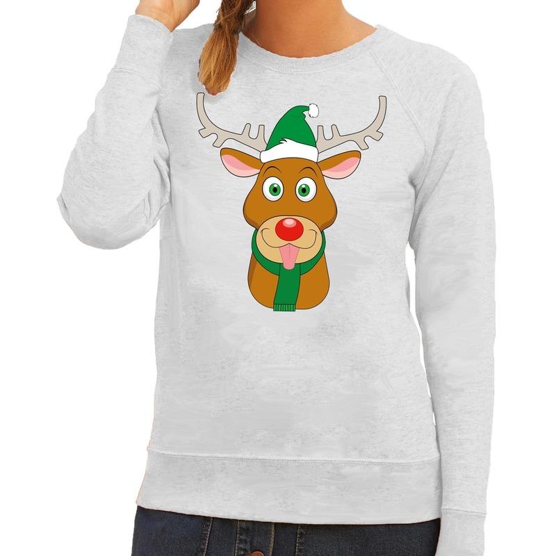 Foute kersttrui rendier Rudolf met groene kerstmuts grijs dames