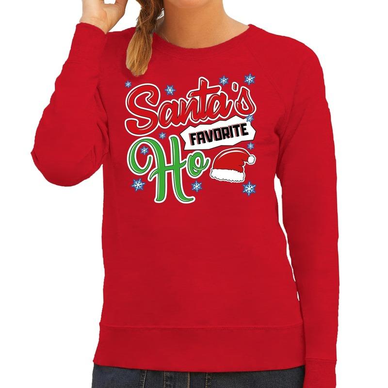 Foute Kersttrui Santa his favorite Ho rood voor dames