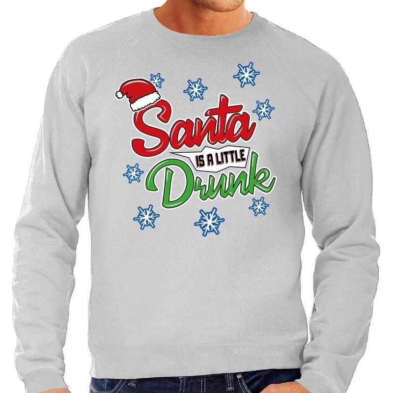 Foute Kersttrui Santa is a little drunk grijs voor heren