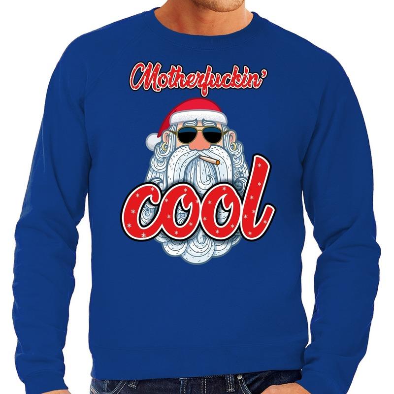 Foute Kersttrui stoere kerstman motherfucking cool blauw heren