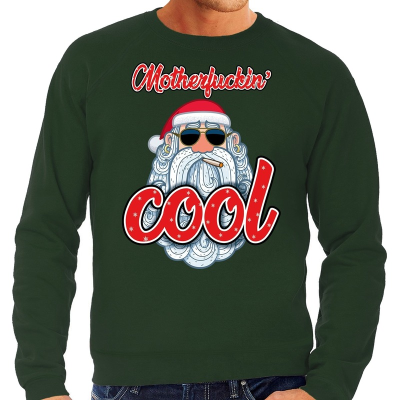 Foute Kersttrui stoere kerstman motherfucking cool groen heren