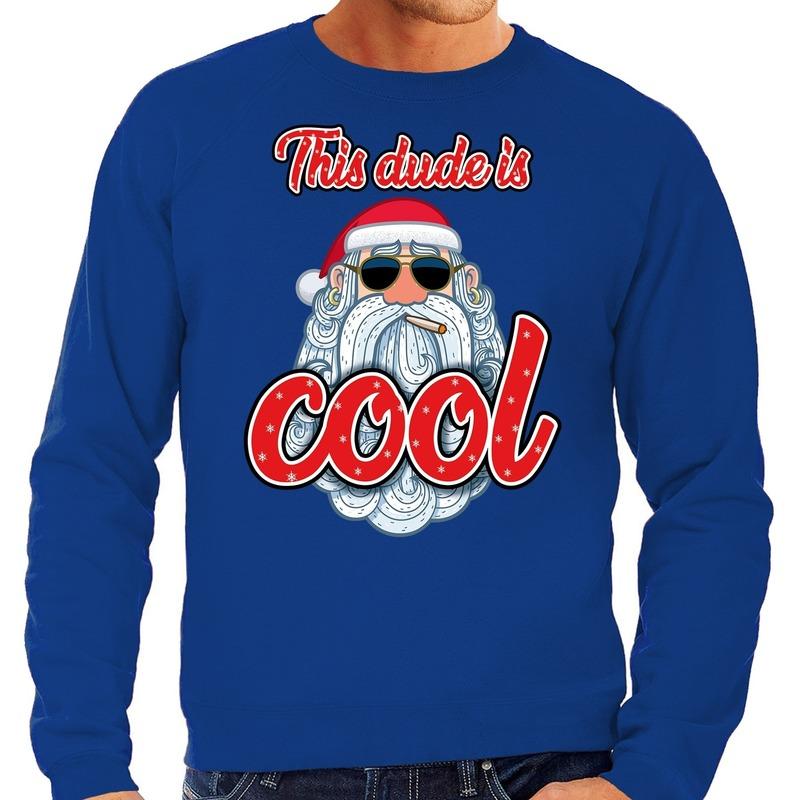 Foute Kersttrui stoere kerstman this dude is cool blauw heren