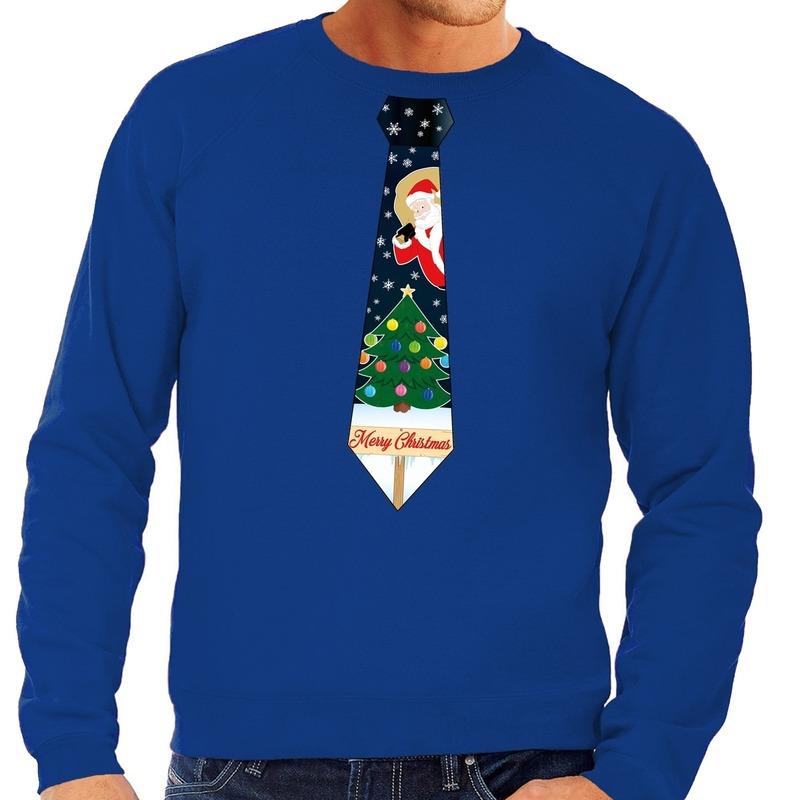 Foute kersttrui stropdas met kerst print blauw voor heren L (52) Blauw