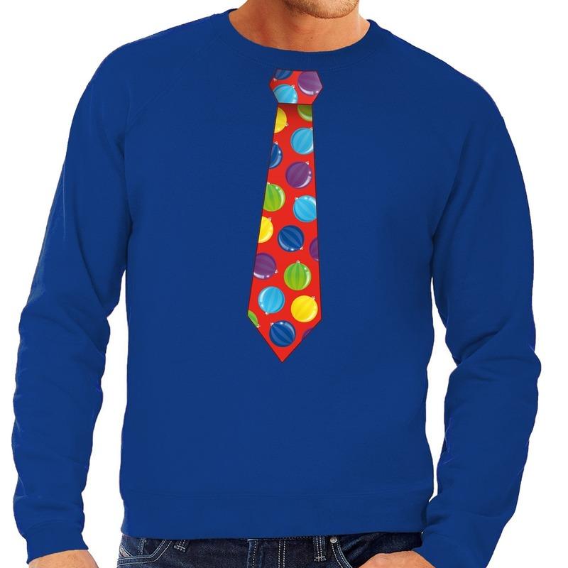 Foute kersttrui stropdas met kerstballen print blauw voor heren S (48) Blauw
