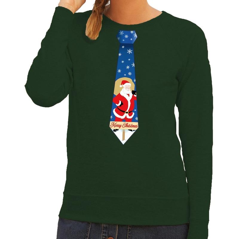 Foute kersttrui stropdas met kerstman print groen voor dames XS (34) Groen