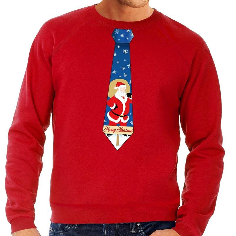 Foute kersttrui stropdas met kerstman print rood voor heren L (52) Rood