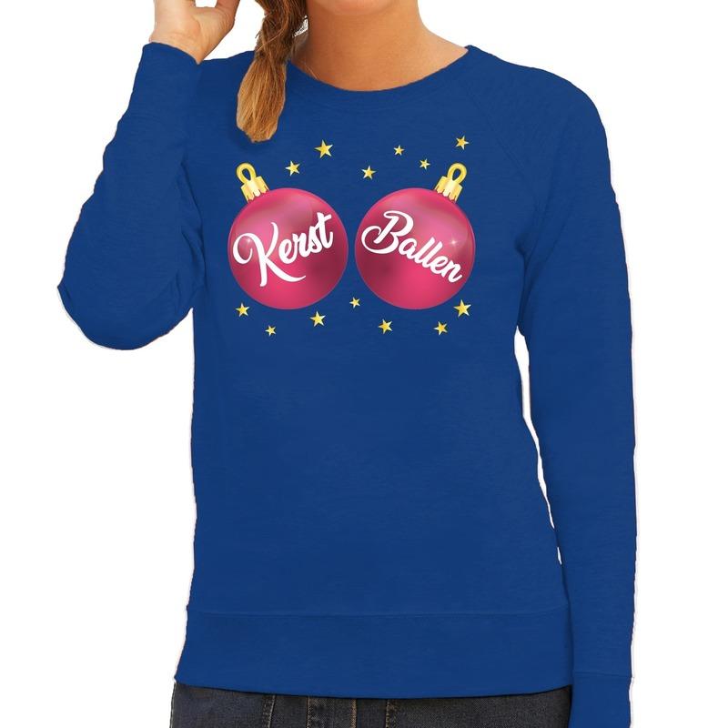 Foute kersttrui - sweater blauw met roze Kerst Ballen voor dames