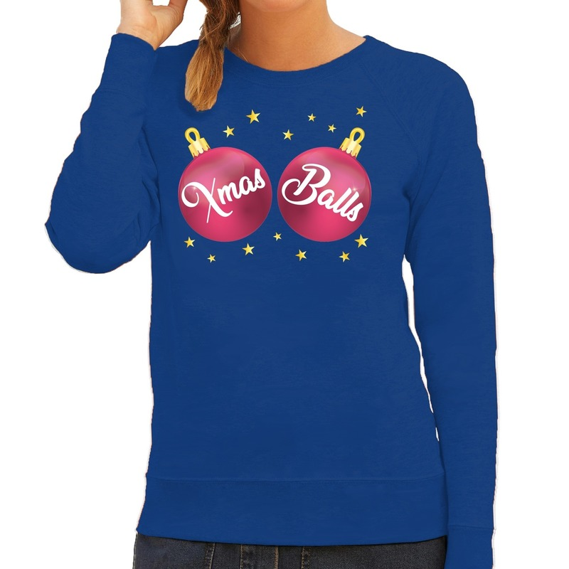 Foute kersttrui - sweater blauw met roze Xmas Balls voor dames