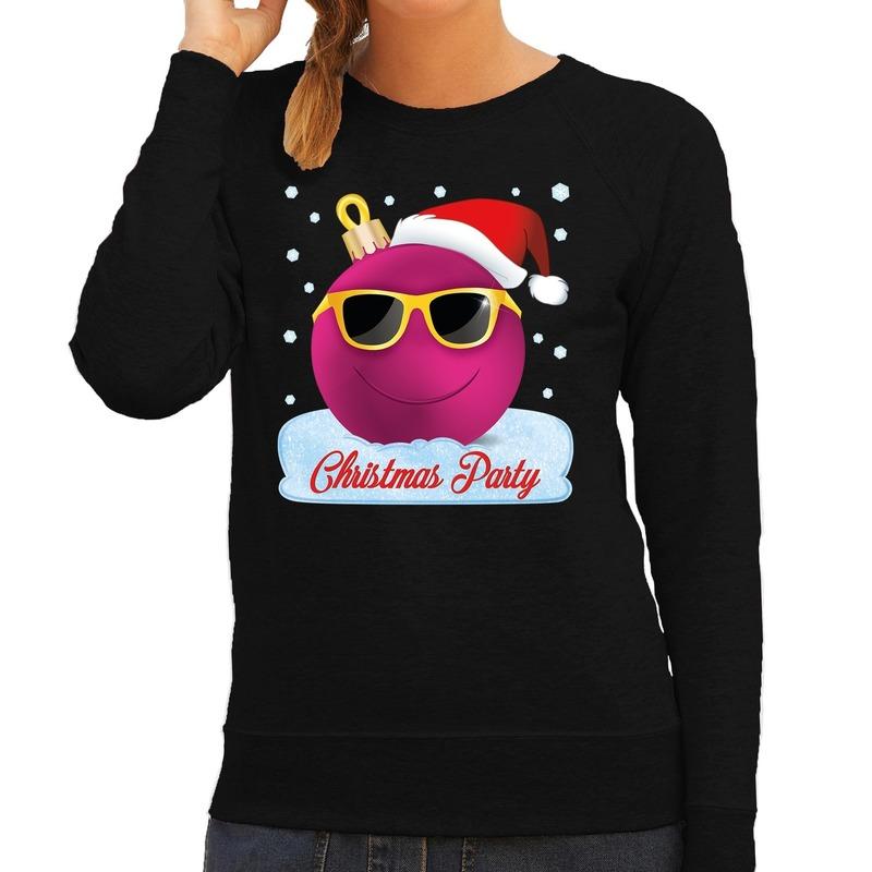 Foute kersttrui - sweater Christmas party zwart voor dames