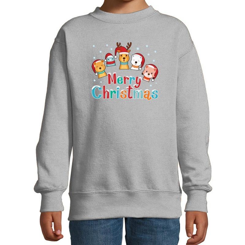 Foute kersttrui - sweater dieren Merry christmas grijs kids