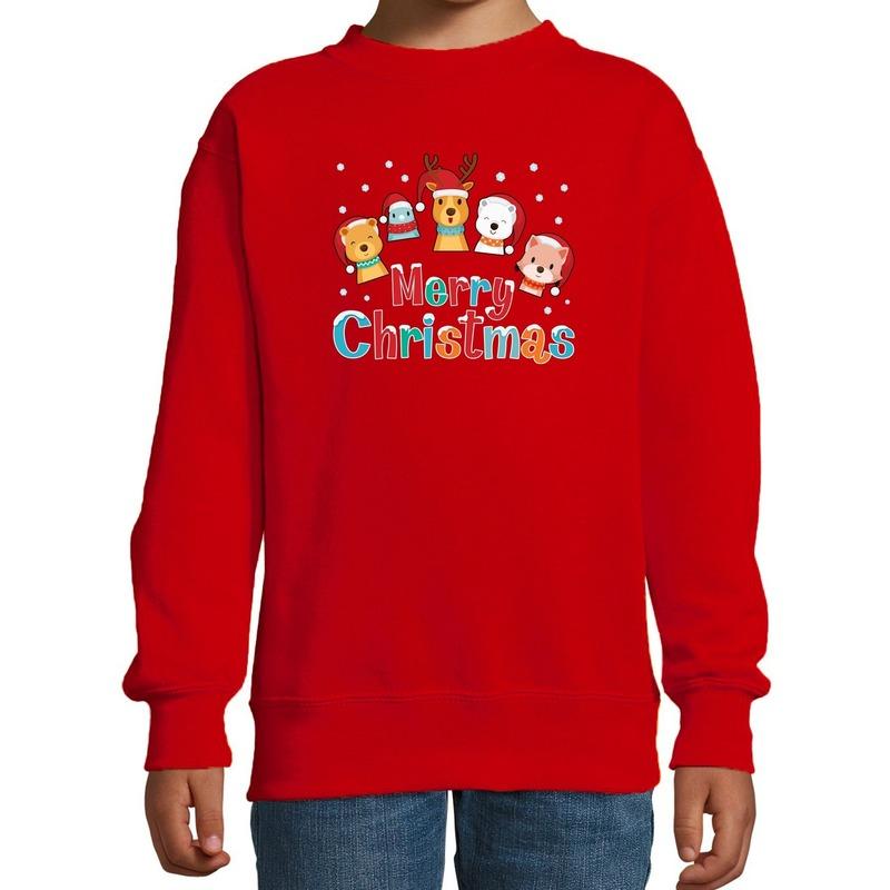 Foute kersttrui - sweater dieren Merry christmas rood kids