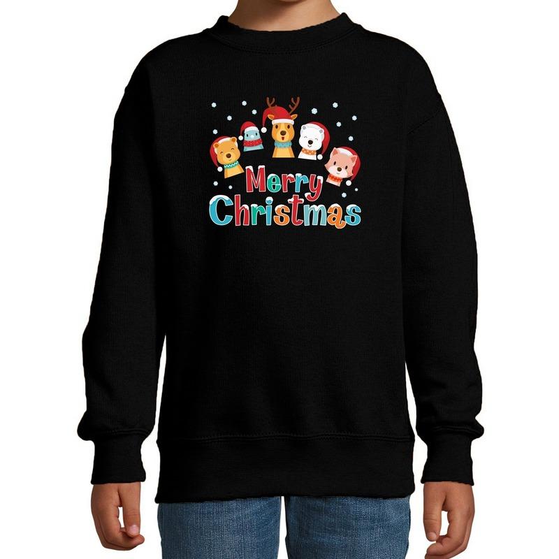 Foute kersttrui - sweater dieren Merry christmas zwart kids