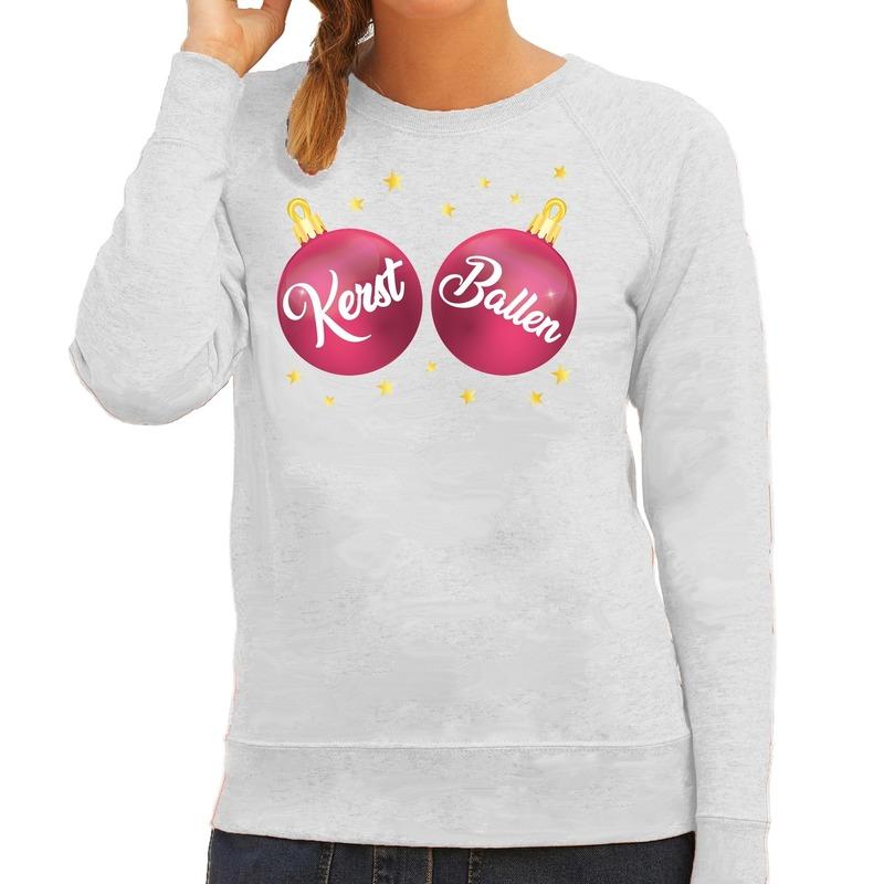 Foute kersttrui - sweater grijs met Kerst Ballen voor dames