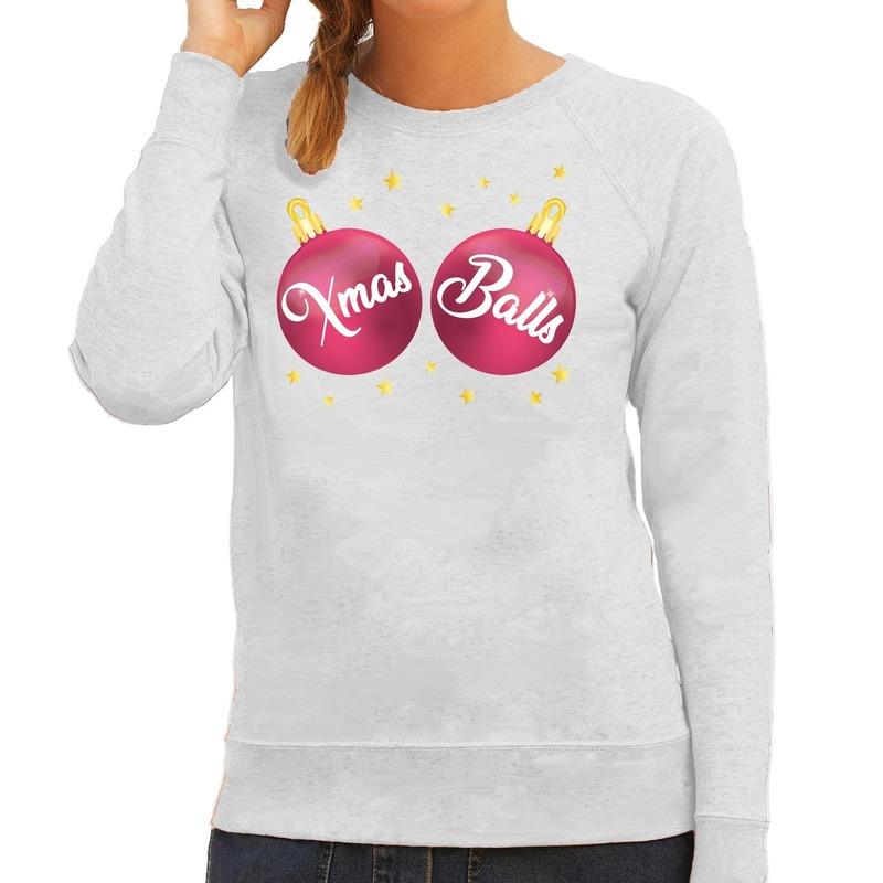 Foute kersttrui - sweater grijs met roze Xmas balls voor dames