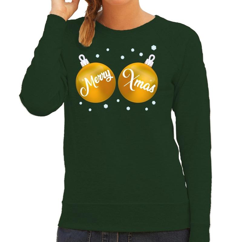 Foute kersttrui - sweater groen met gouden Merry Xmas voor dames