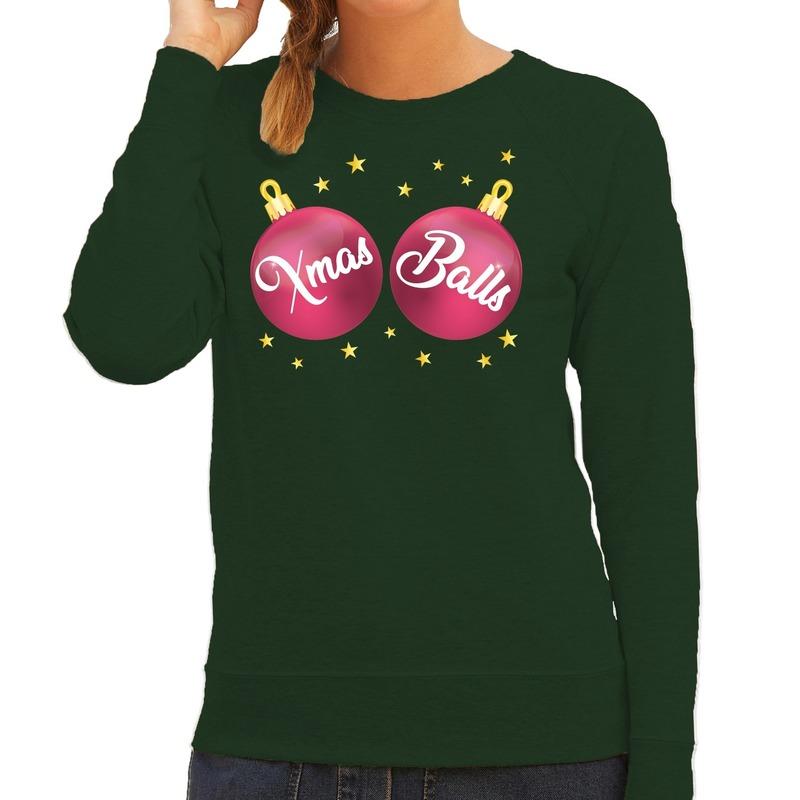 Foute kersttrui - sweater groen met roze Xmas Balls voor dames