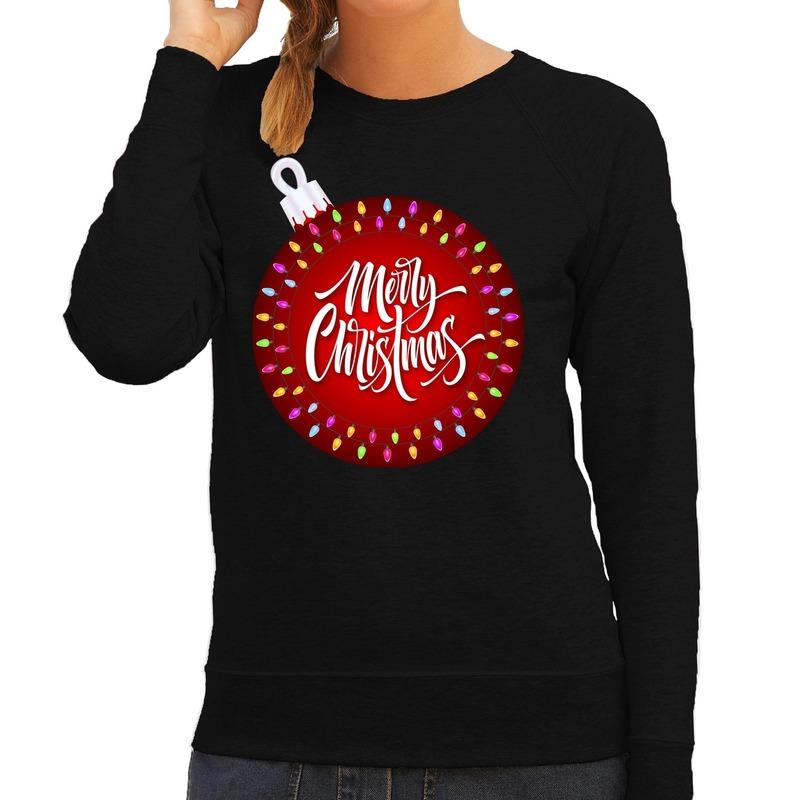 Foute kersttrui - sweater kerstbal merry christmas zwart dames