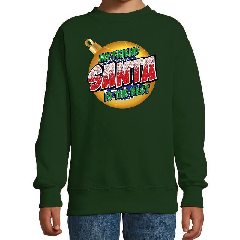 Foute kersttrui - sweater My friend Santa is the best groen kids