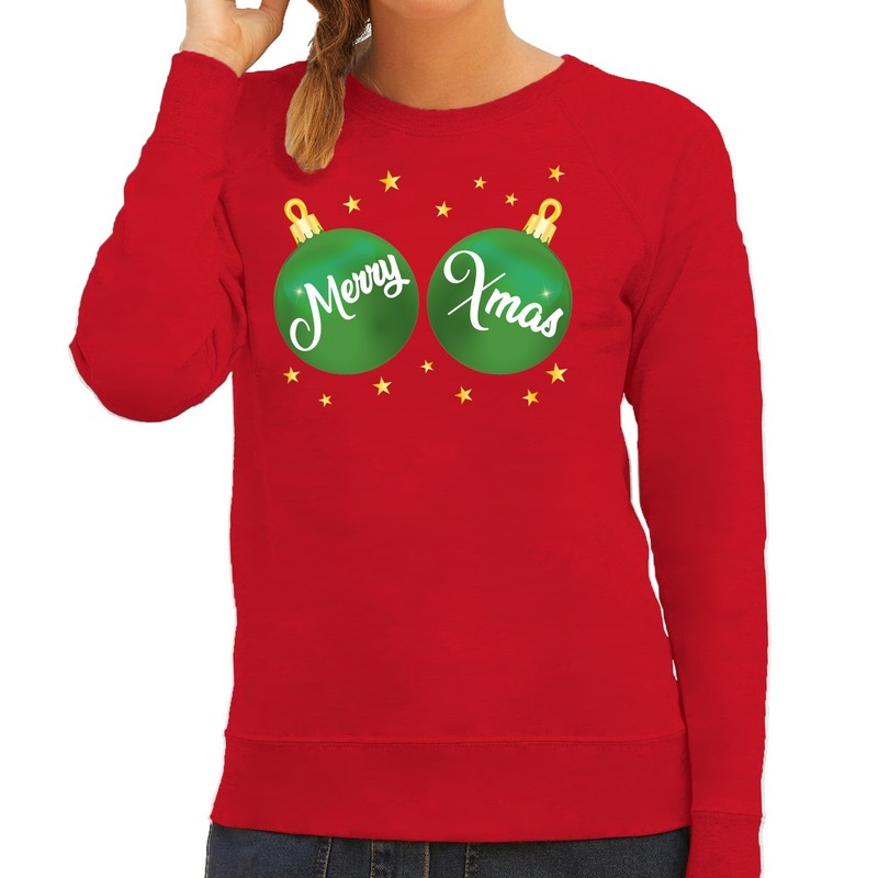Foute kersttrui - sweater rood met Merry Xmas voor dames