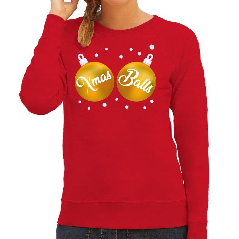 Foute kersttrui - sweater rood met Xmas Balls voor dames