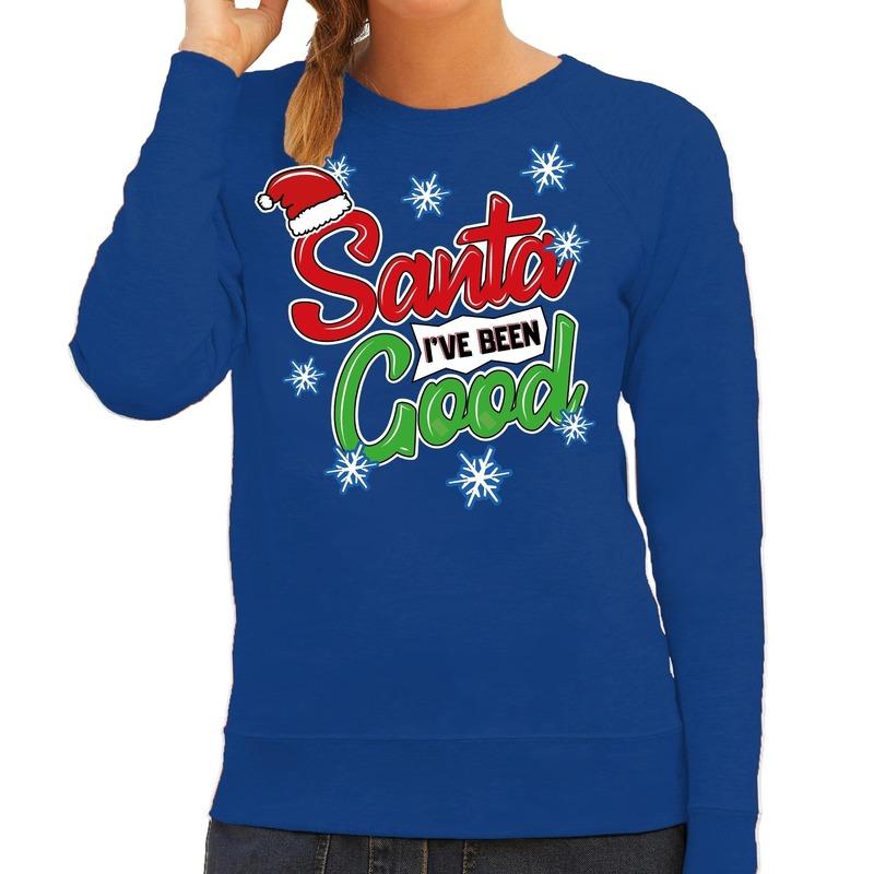 Foute kersttrui - sweater Santa I have been good blauw dames