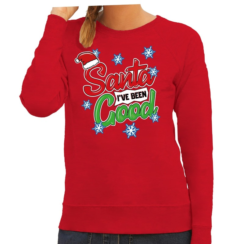 Foute kersttrui - sweater Santa I have been good rood dames